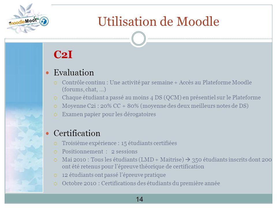 Utilisation de Moodle C2I Evaluation Certification 14