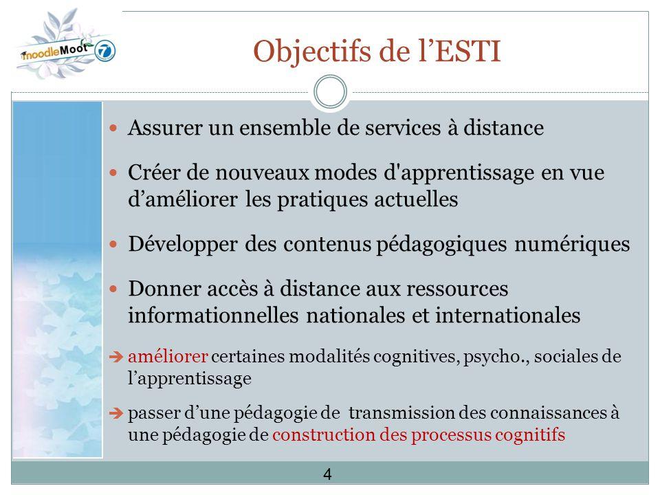 Objectifs de l'ESTI Assurer un ensemble de services à distance
