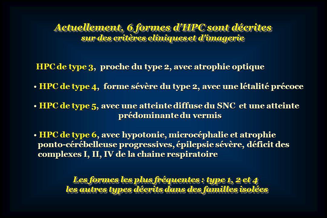 Actuellement, 6 formes d'HPC sont décrites