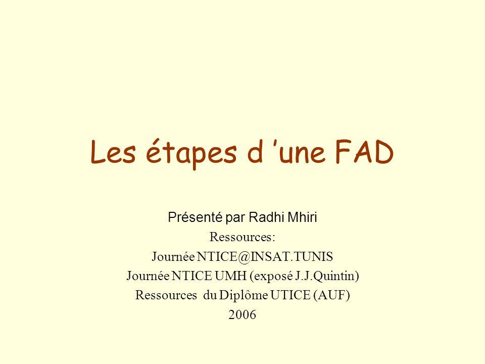Les étapes d 'une FAD Présenté par Radhi Mhiri Ressources: