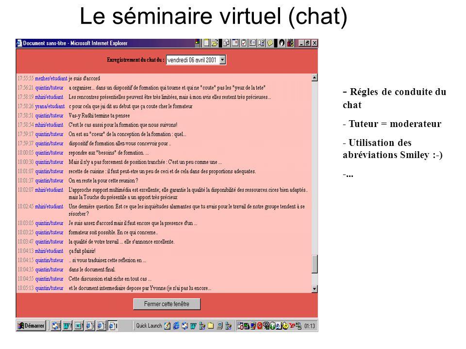 Le séminaire virtuel (chat)
