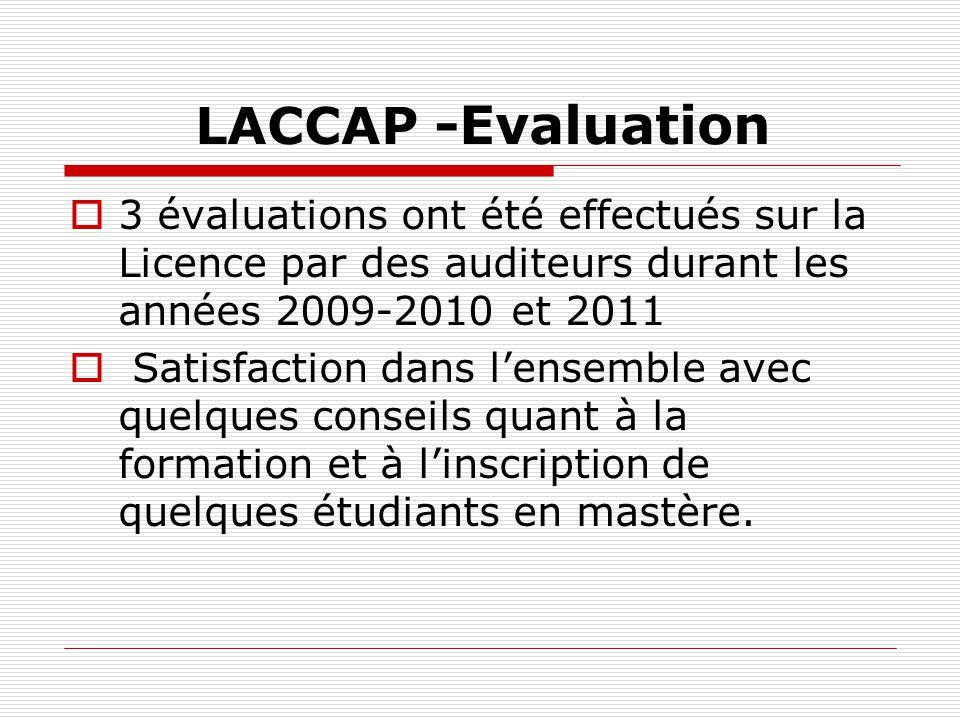 LACCAP -Evaluation 3 évaluations ont été effectués sur la Licence par des auditeurs durant les années 2009-2010 et 2011.