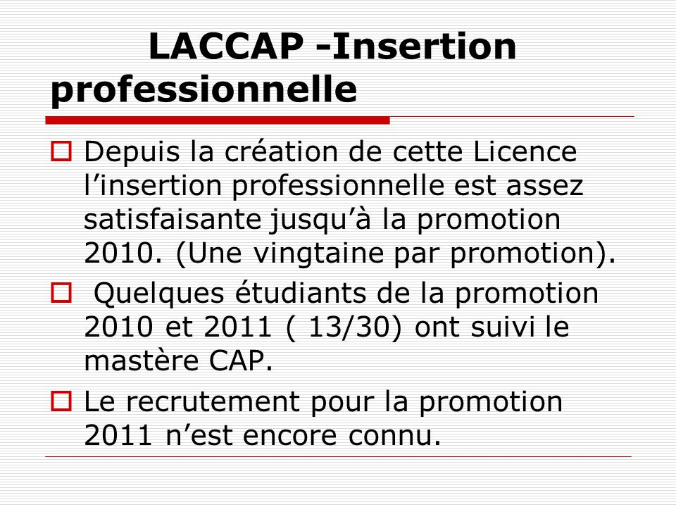 LACCAP -Insertion professionnelle