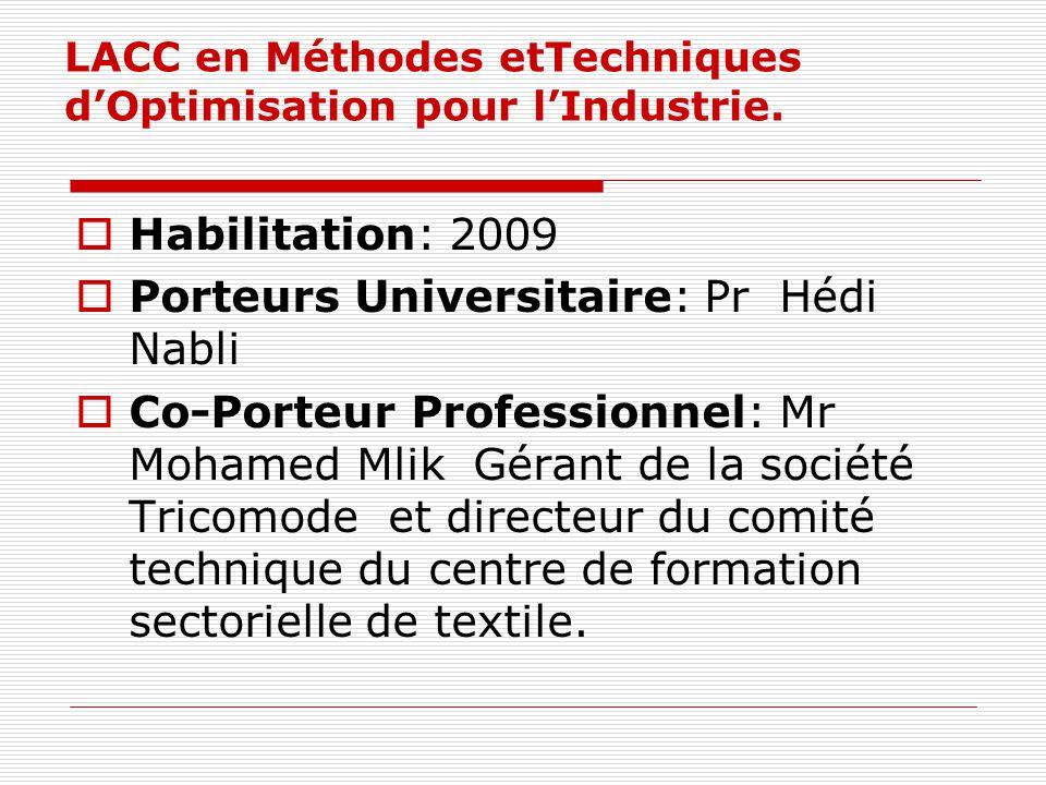 LACC en Méthodes etTechniques d'Optimisation pour l'Industrie.