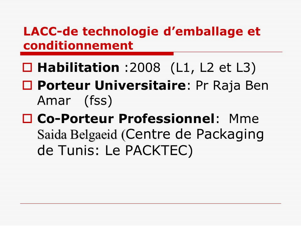 LACC-de technologie d'emballage et conditionnement