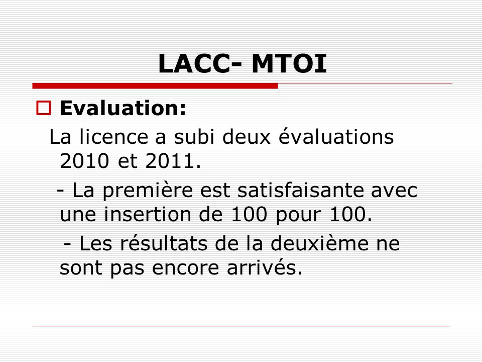 LACC- MTOI Evaluation: