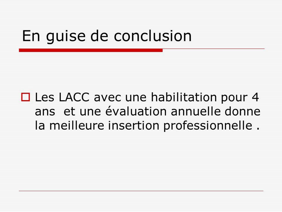 En guise de conclusion Les LACC avec une habilitation pour 4 ans et une évaluation annuelle donne la meilleure insertion professionnelle .