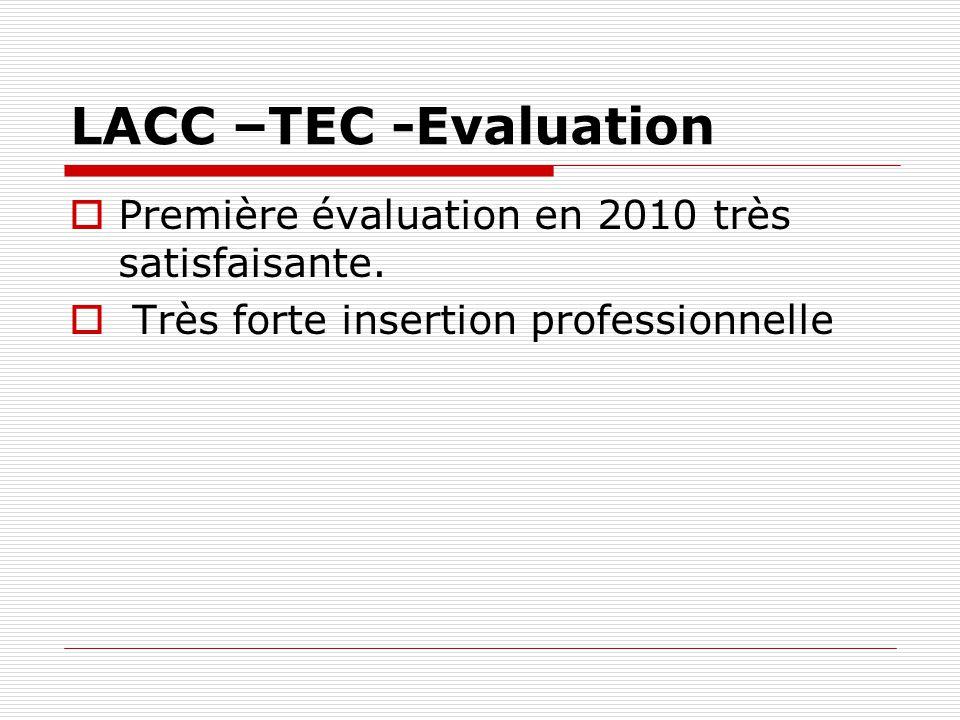 LACC –TEC -Evaluation Première évaluation en 2010 très satisfaisante.