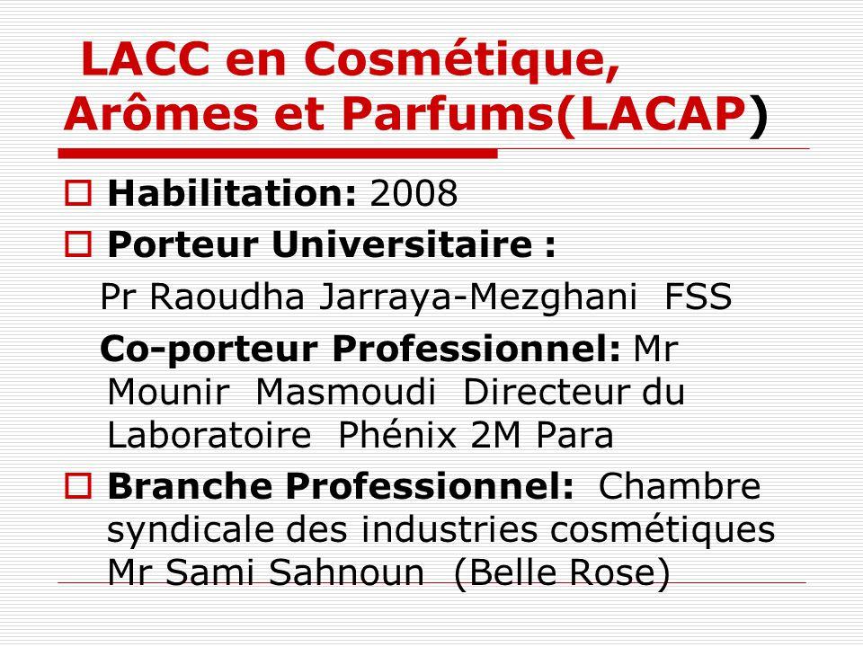 LACC en Cosmétique, Arômes et Parfums(LACAP)