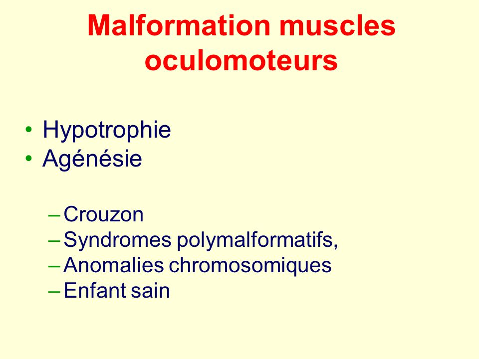 Malformation muscles oculomoteurs