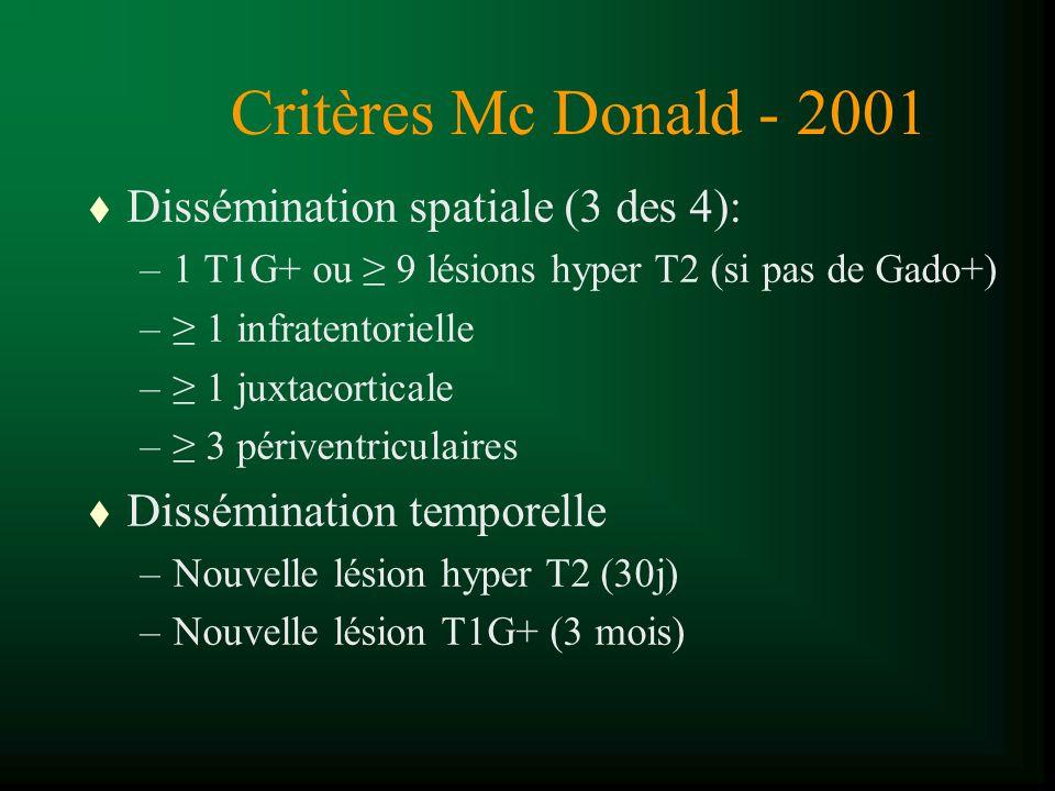 Critères Mc Donald - 2001 Dissémination spatiale (3 des 4):