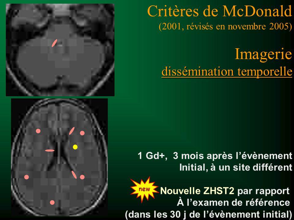 Critères de McDonald (2001, révisés en novembre 2005) Imagerie dissémination temporelle