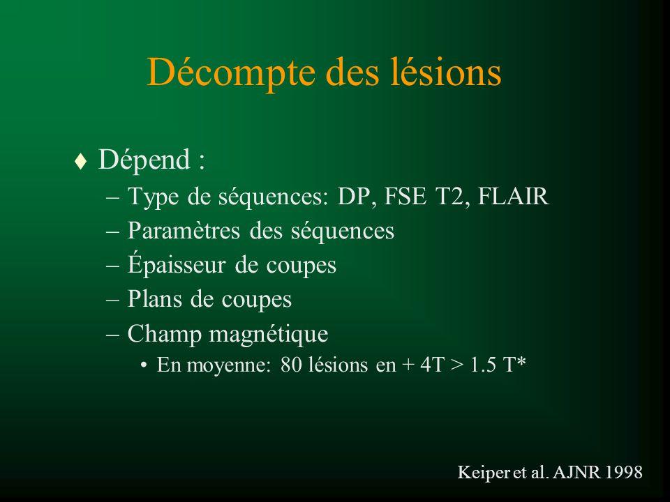 Décompte des lésions Dépend : Type de séquences: DP, FSE T2, FLAIR