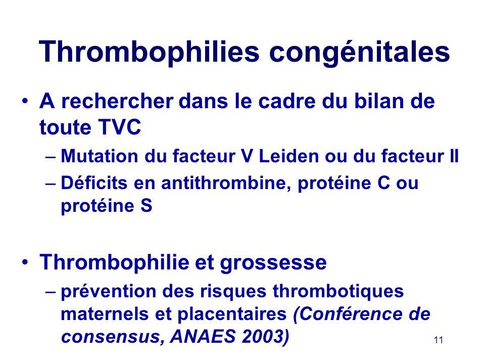 Thrombophilies congénitales