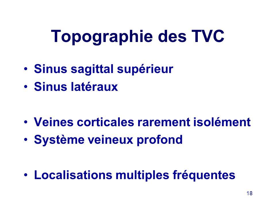 Topographie des TVC Sinus sagittal supérieur Sinus latéraux