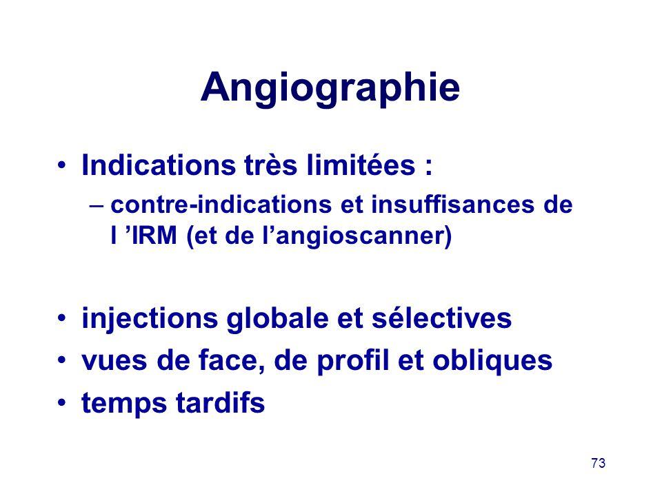 Angiographie Indications très limitées :