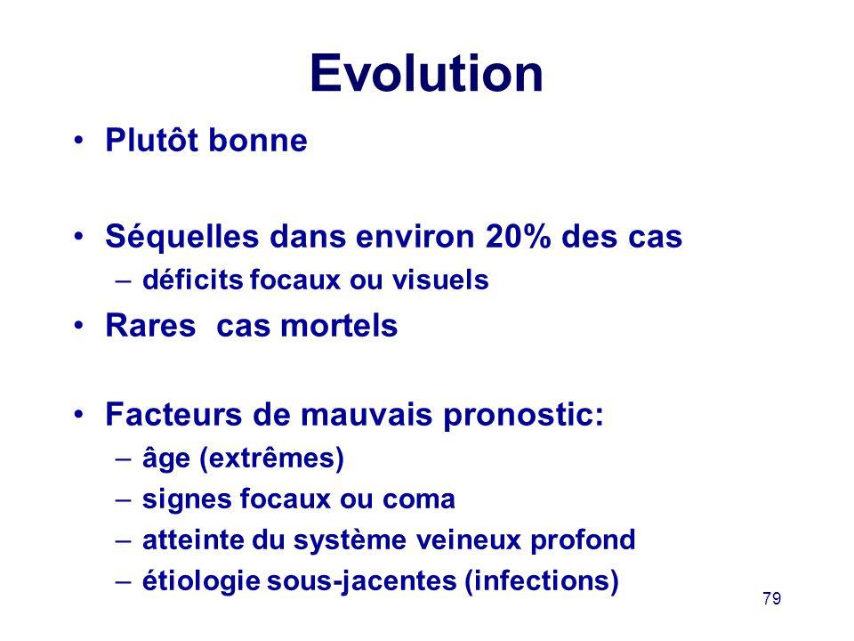 Evolution Plutôt bonne Séquelles dans environ 20% des cas