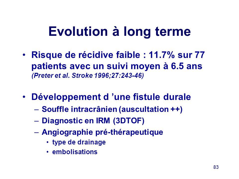 Evolution à long terme Risque de récidive faible : 11.7% sur 77 patients avec un suivi moyen à 6.5 ans (Preter et al. Stroke 1996;27:243-46)