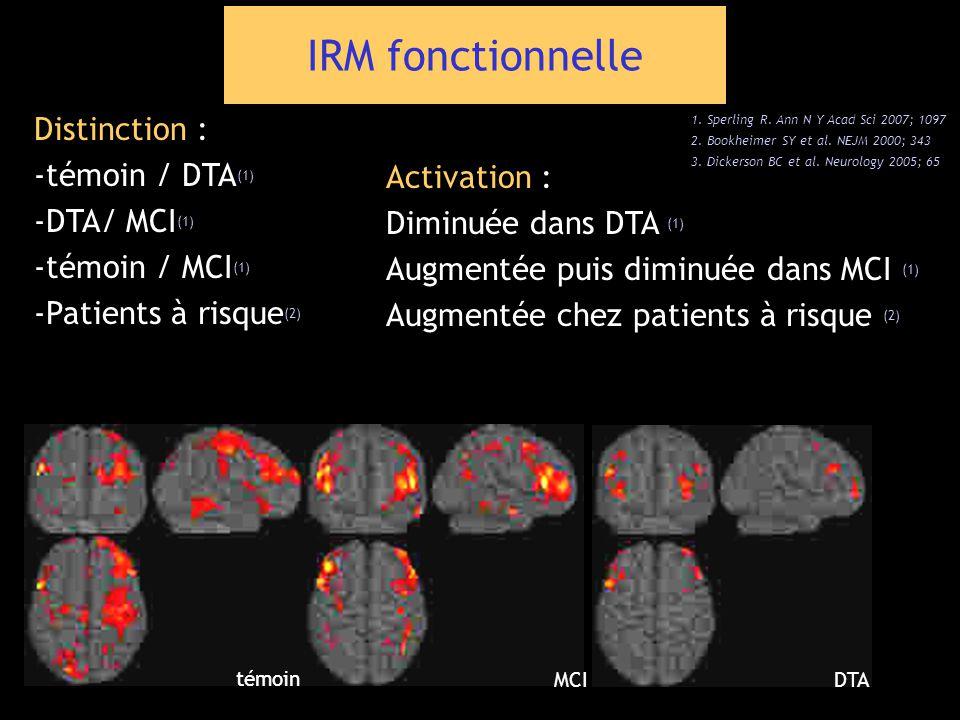 IRM fonctionnelle Distinction : -témoin / DTA(1) -DTA/ MCI(1)