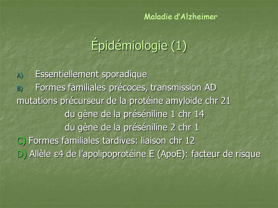 Épidémiologie (1) Essentiellement sporadique