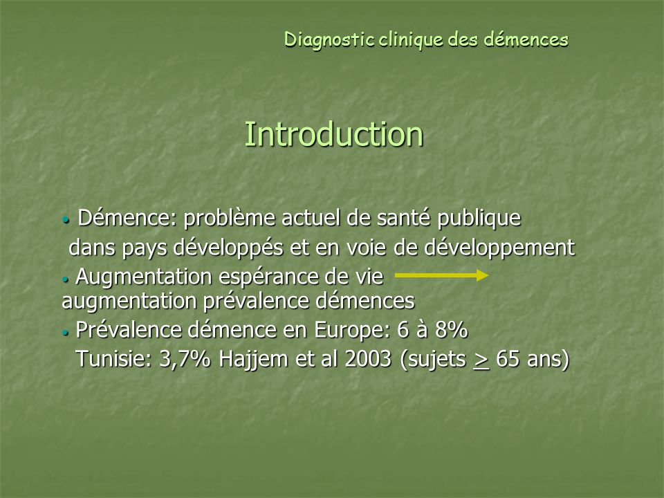 Diagnostic clinique des démences