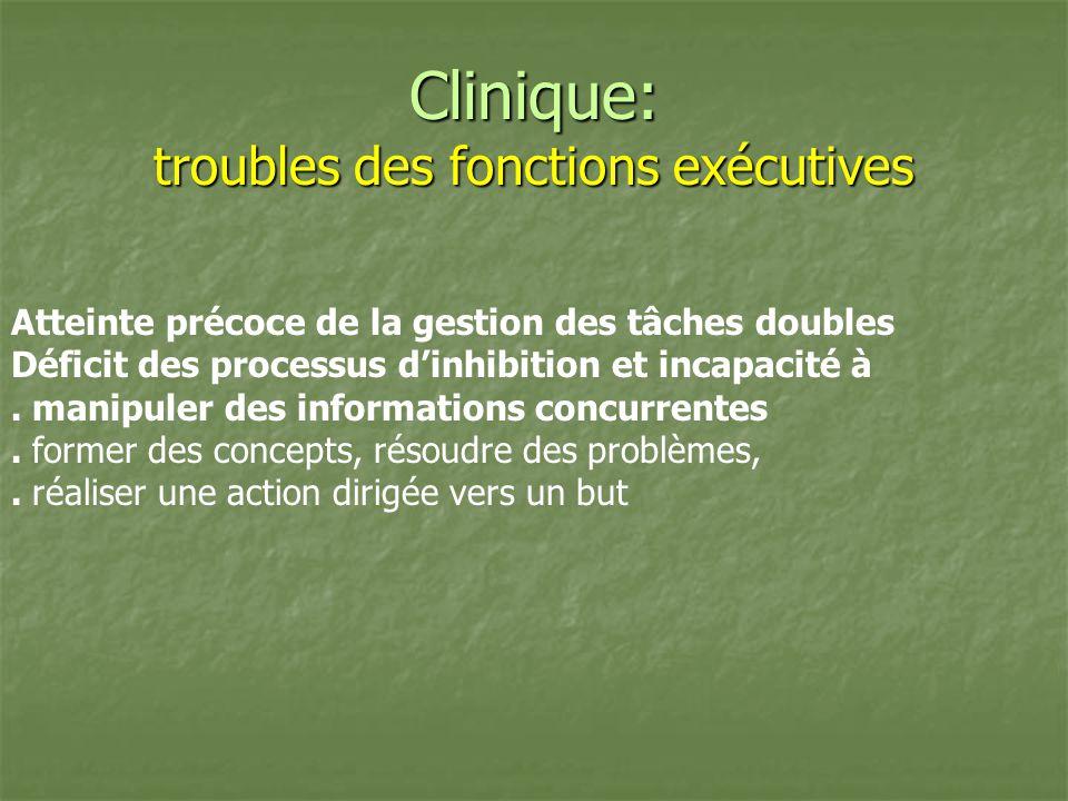 Clinique: troubles des fonctions exécutives