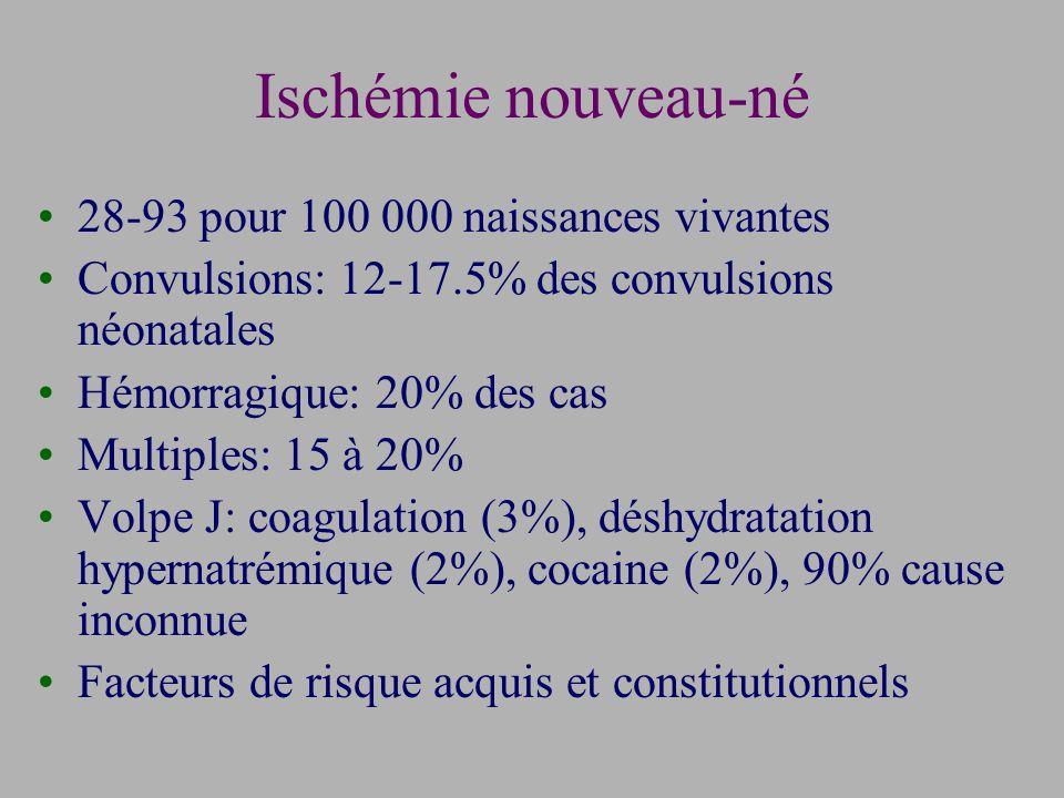 Ischémie nouveau-né 28-93 pour 100 000 naissances vivantes