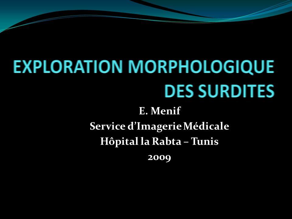 E. Menif Service d'Imagerie Médicale Hôpital la Rabta – Tunis 2009