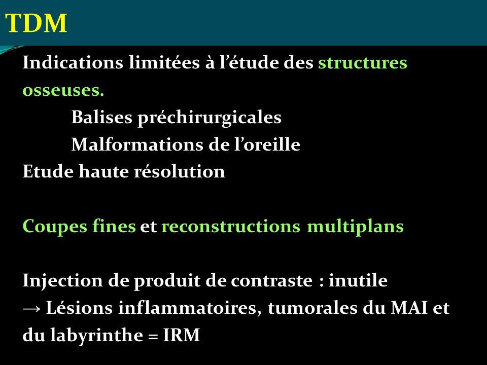 TDM Indications limitées à l'étude des structures osseuses.