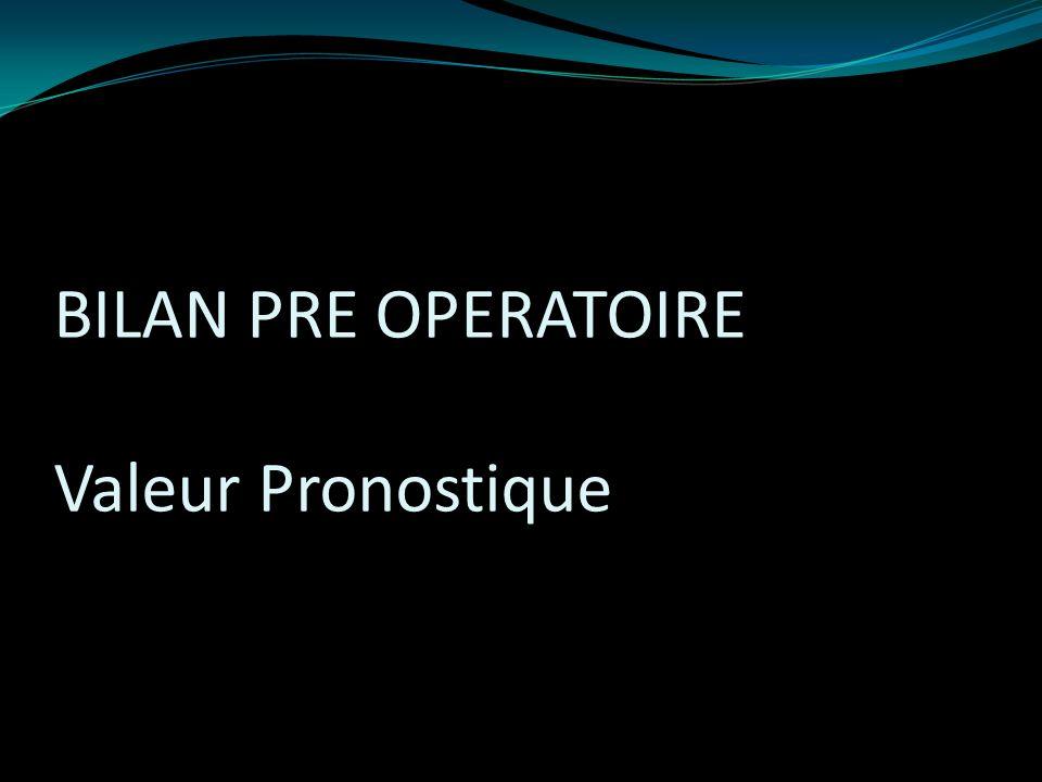 BILAN PRE OPERATOIRE Valeur Pronostique