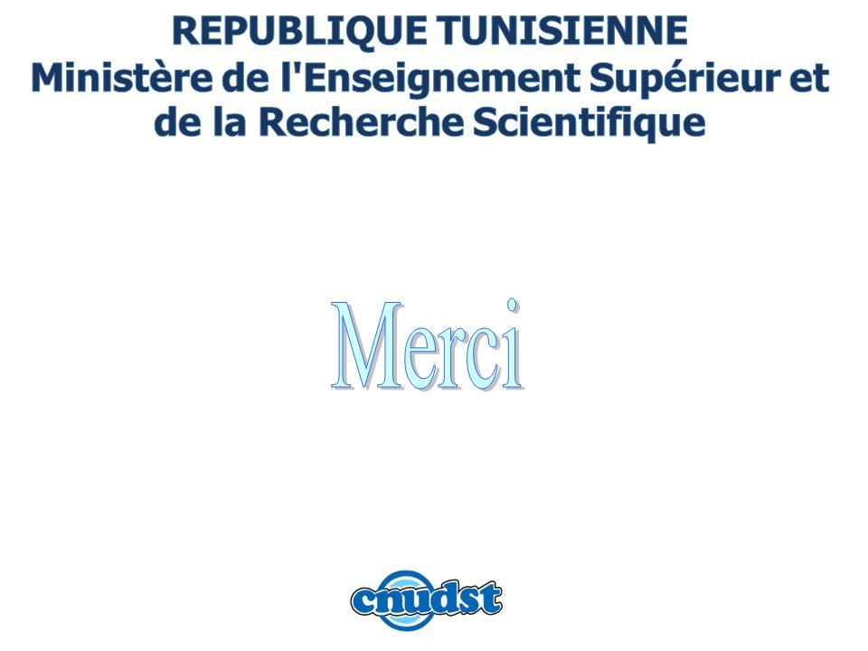 REPUBLIQUE TUNISIENNE Ministère de l Enseignement Supérieur et de la Recherche Scientifique