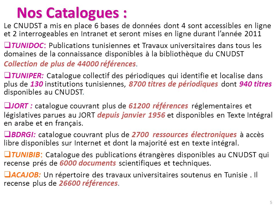 Nos Catalogues :