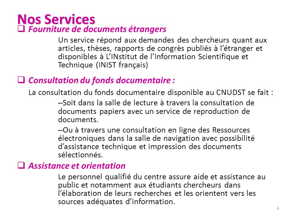Nos Services Fourniture de documents étrangers