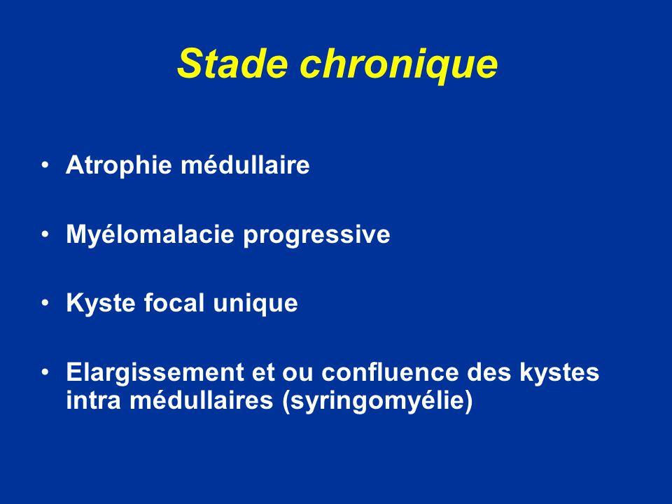 Stade chronique Atrophie médullaire Myélomalacie progressive