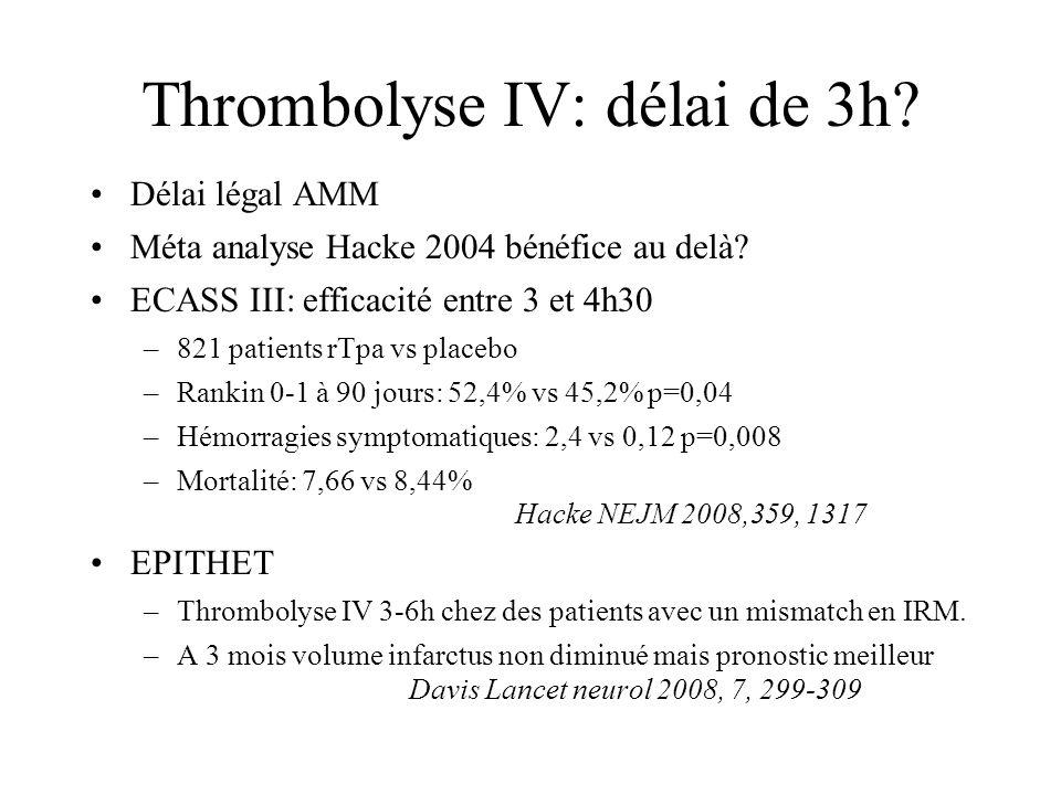 Thrombolyse IV: délai de 3h