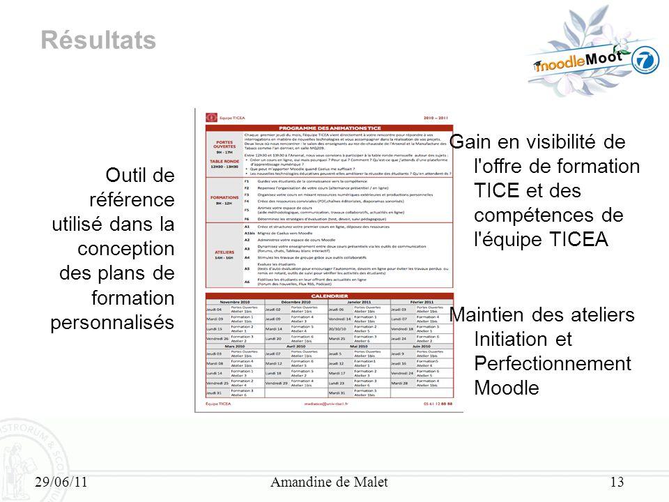 Résultats Gain en visibilité de l offre de formation TICE et des compétences de l équipe TICEA.