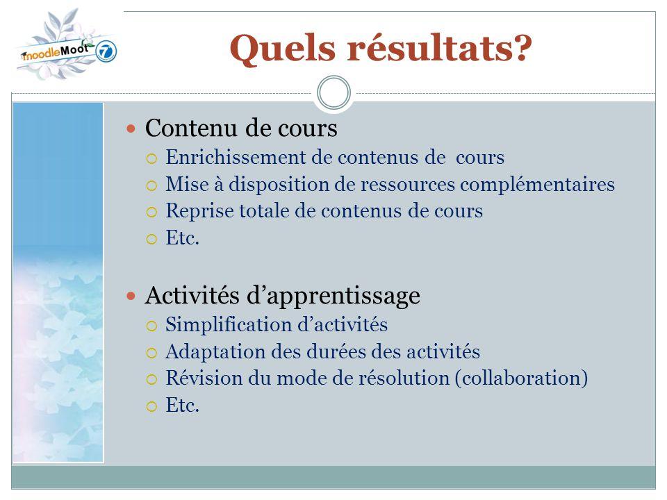 Quels résultats Contenu de cours Activités d'apprentissage