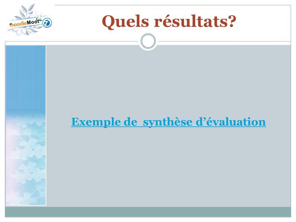 Exemple de synthèse d'évaluation