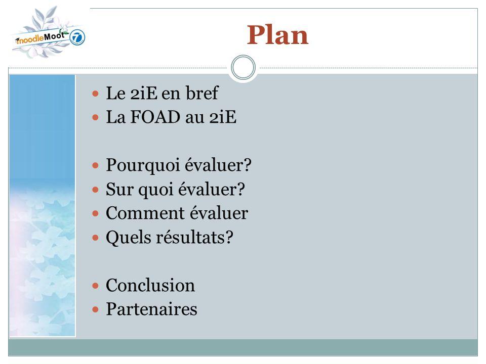 Plan Le 2iE en bref La FOAD au 2iE Pourquoi évaluer Sur quoi évaluer