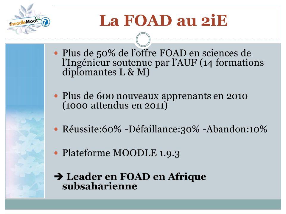 La FOAD au 2iE Plus de 50% de l'offre FOAD en sciences de l'Ingénieur soutenue par l'AUF (14 formations diplomantes L & M)
