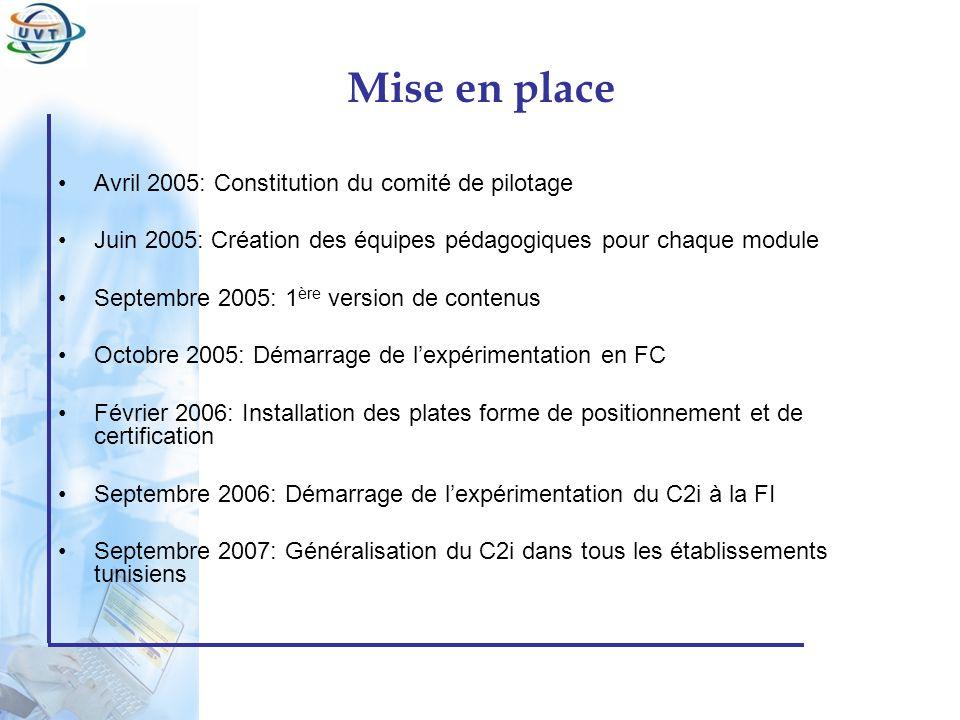 Mise en place Avril 2005: Constitution du comité de pilotage