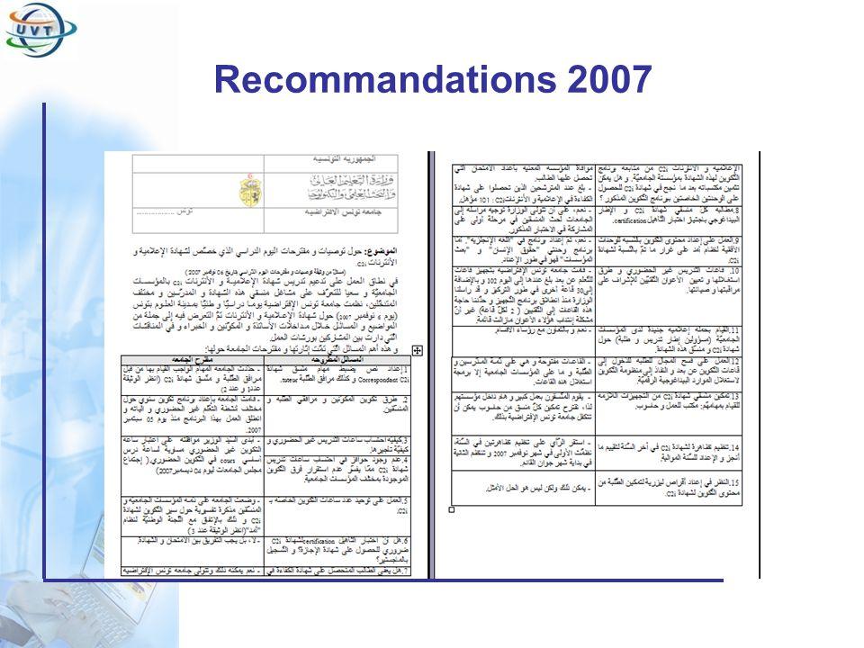 Recommandations 2007