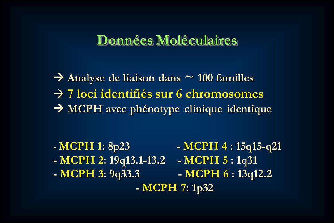 Données Moléculaires  Analyse de liaison dans ~ 100 familles