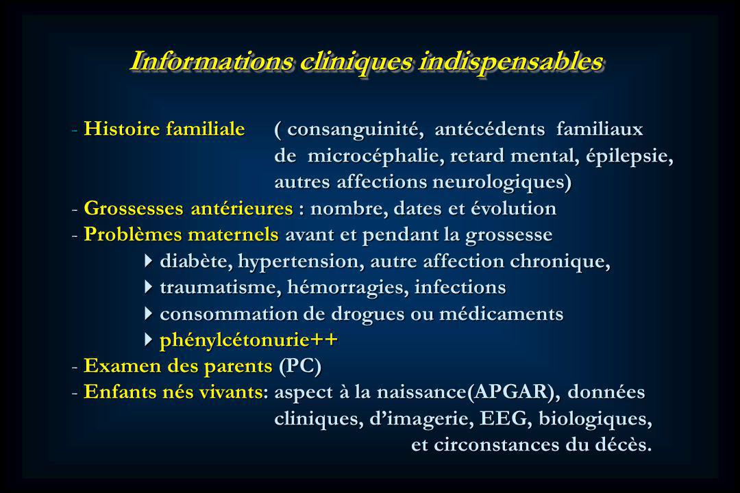 Informations cliniques indispensables