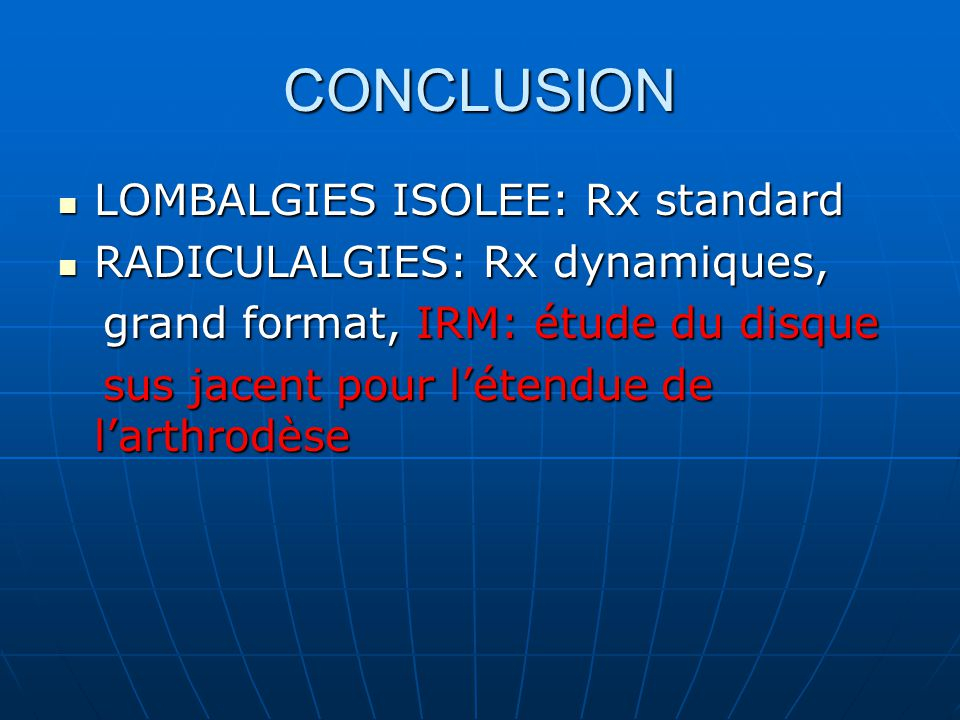 CONCLUSION LOMBALGIES ISOLEE: Rx standard