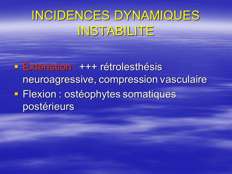 INCIDENCES DYNAMIQUES INSTABILITE