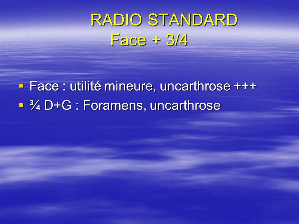 RADIO STANDARD Face + 3/4 Face : utilité mineure, uncarthrose +++