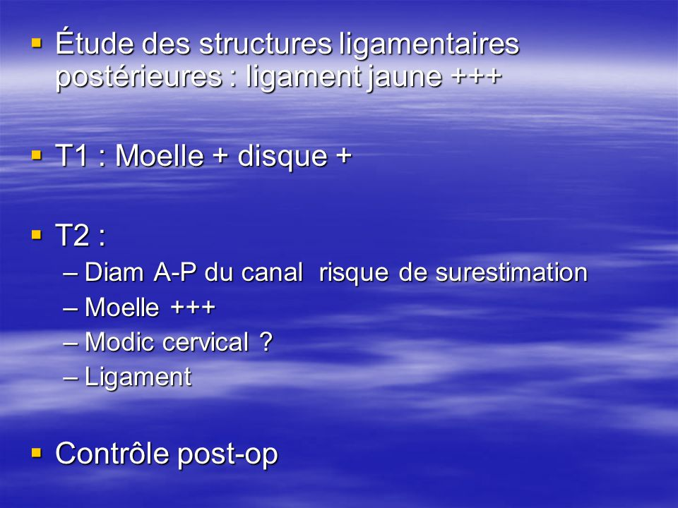 Étude des structures ligamentaires postérieures : ligament jaune +++