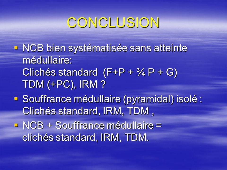 CONCLUSION NCB bien systématisée sans atteinte médullaire: Clichés standard (F+P + ¾ P + G) TDM (+PC), IRM