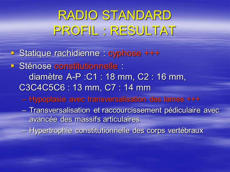 RADIO STANDARD PROFIL : RESULTAT